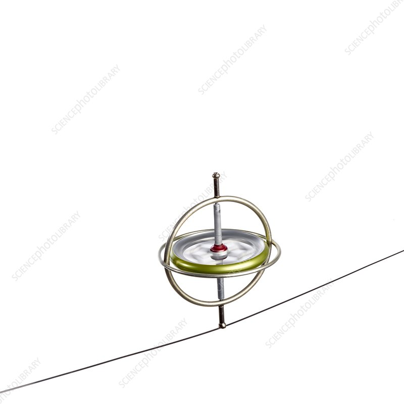 Gyroscope balancing on a wire