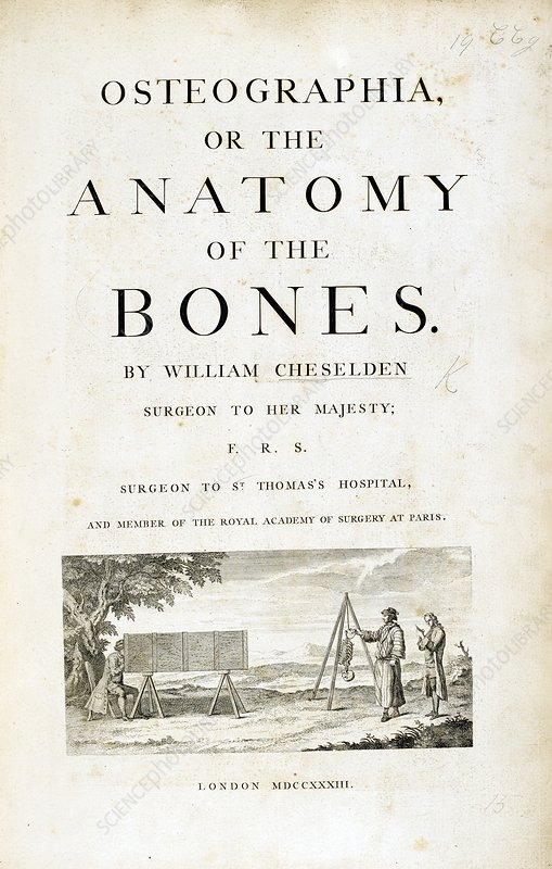 Title page for 'Osteographia' (1733)