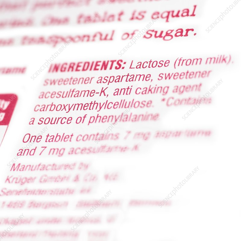 Ingredients on pack of artificial sweeten