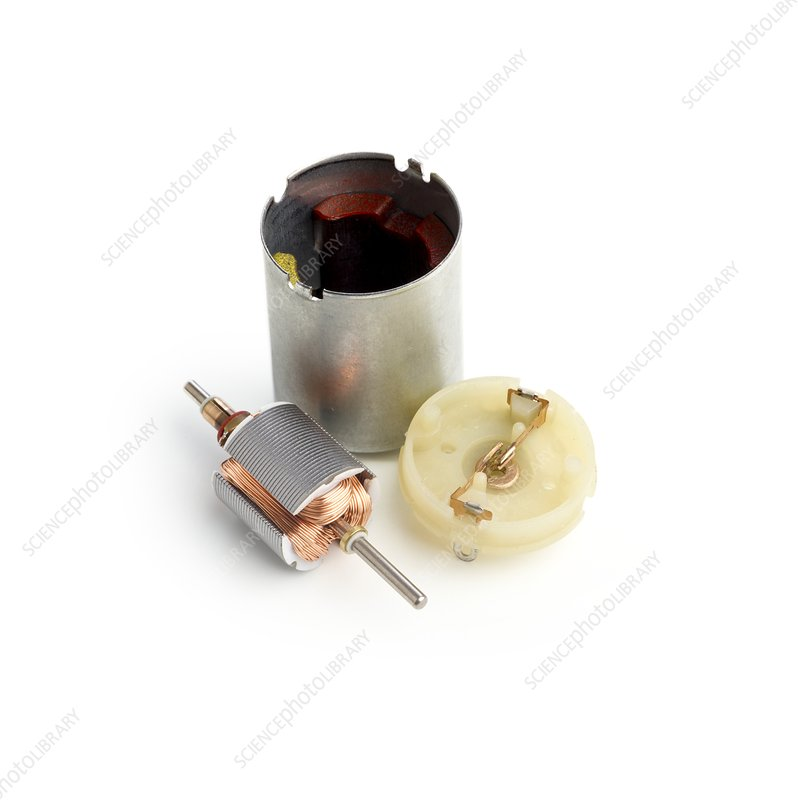 Disassembled DC motor