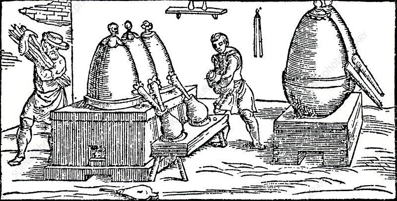 Heating and distilling mercury