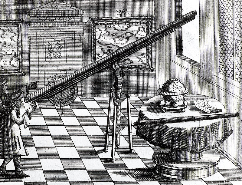 Observers using a refracting telescope