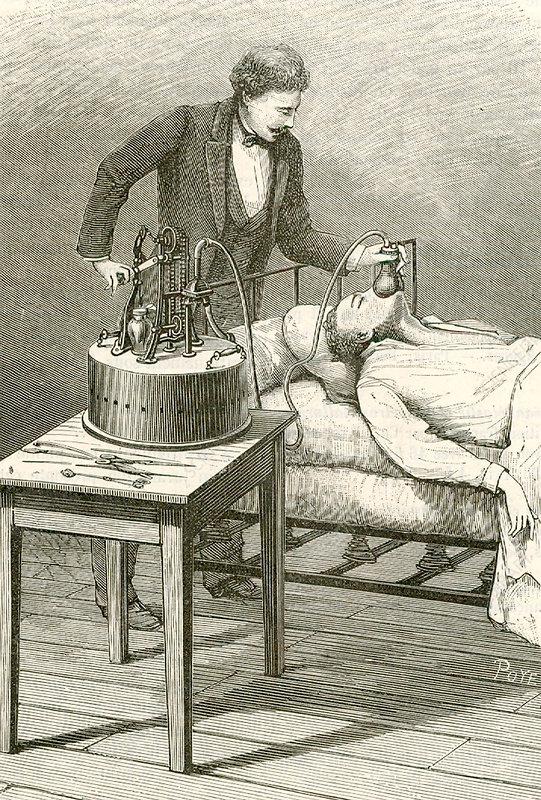 Anaesthetist administering chloroform