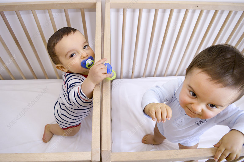 Twin baby boys in their cots