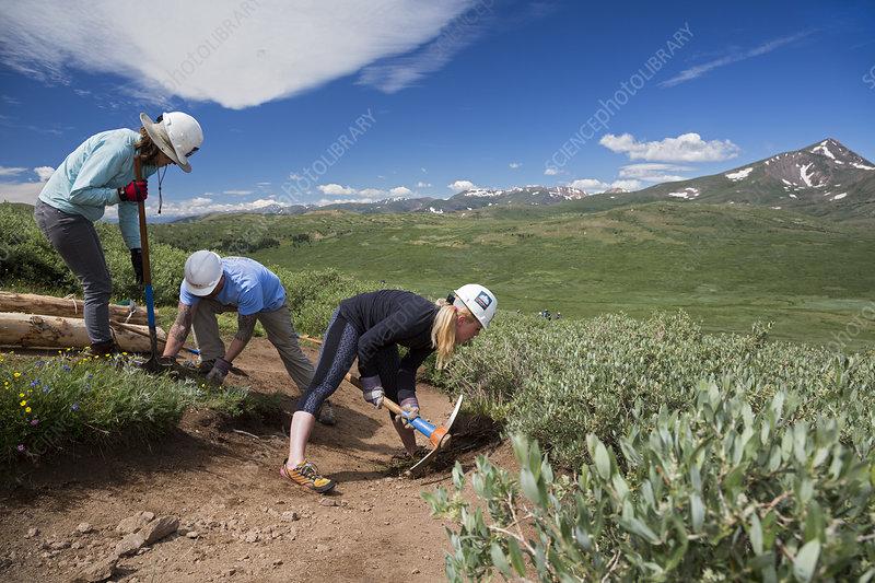 Volunteers maintaining hiking trail