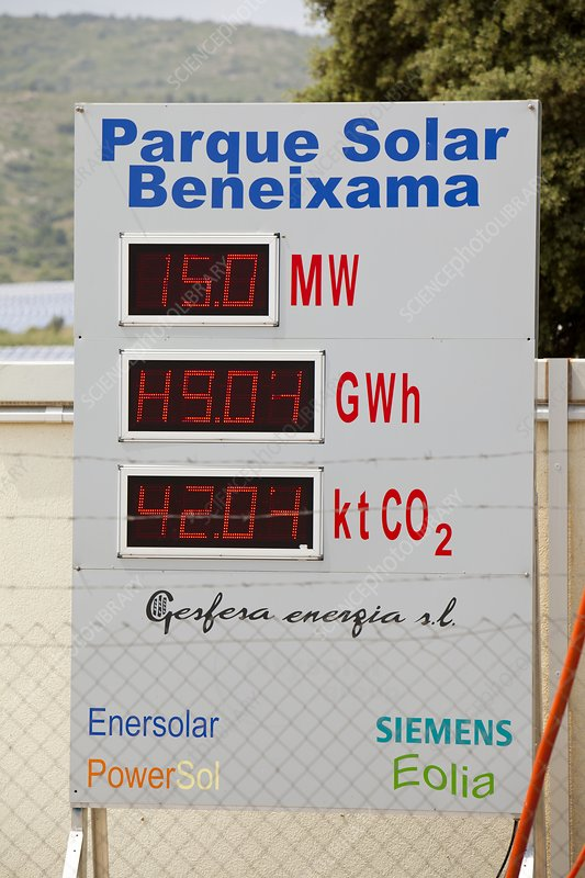 Photovoltaic panels at Beneixama, Spain