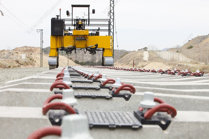 Electrified railway line being built