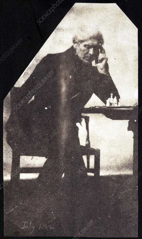 Brewster on chess, 1840s calotype print