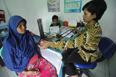 Doctor with pregnant woman, Indonesia