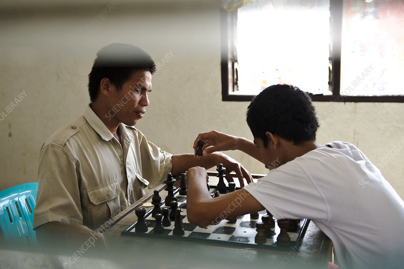 Visually impaired people playing chess