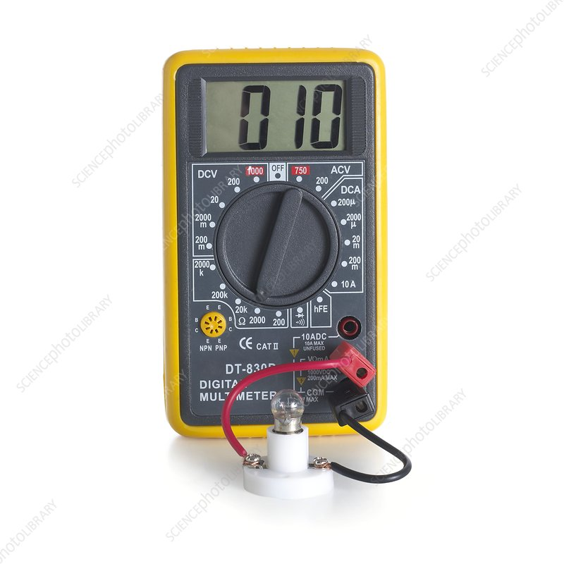 Digital multimeter with lightbulb