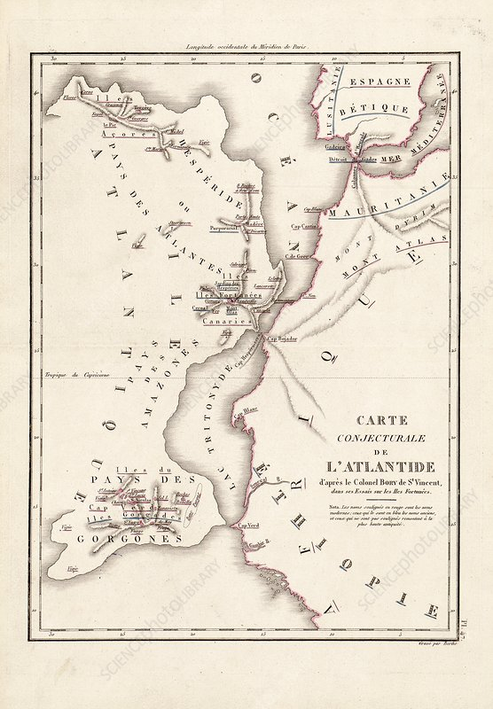 Map of Atlantis, 19th century