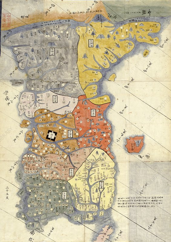 Map of provinces of Korea, 18th century