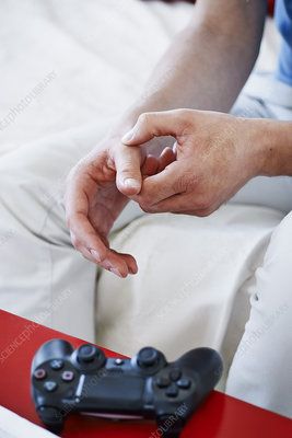 Man with painful hand