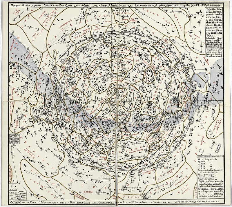 Northern hemisphere star chart, 1909