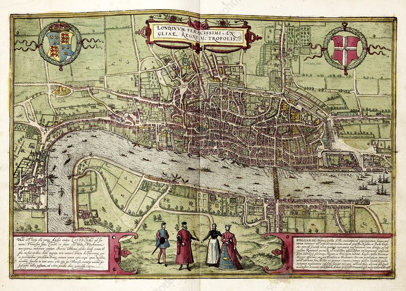 Map of London, 16th century