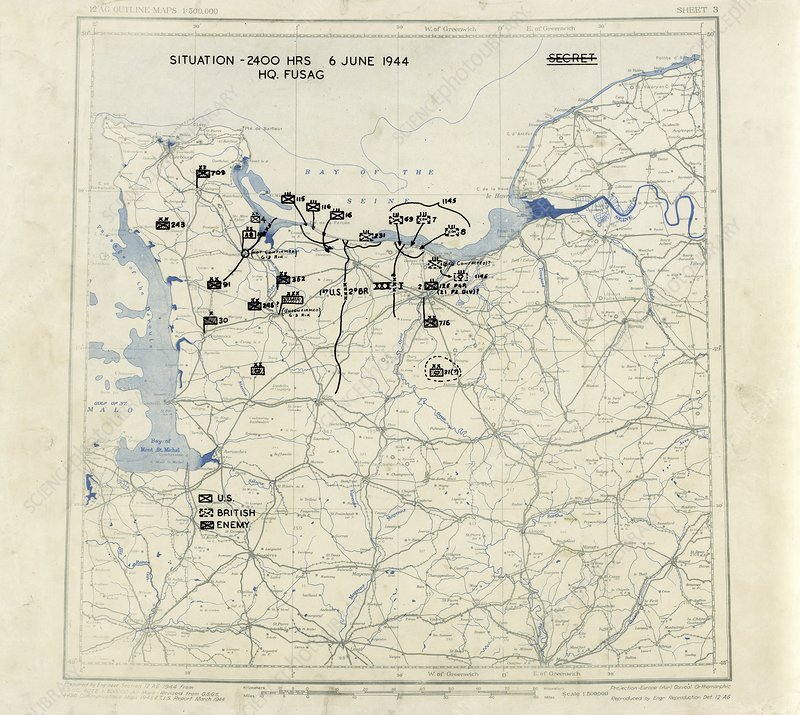 Normandy campaign map, 1944