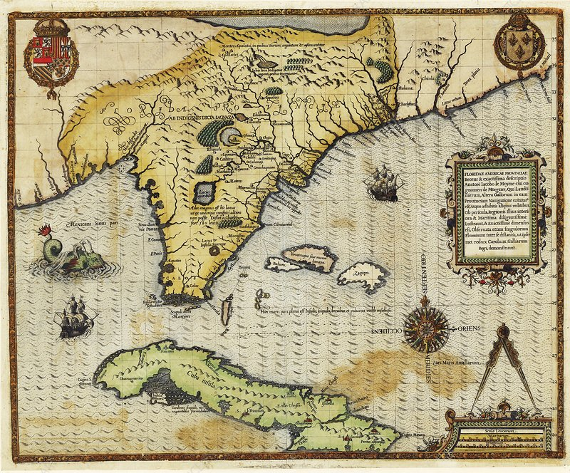 Map of Florida and Cuba, 1591