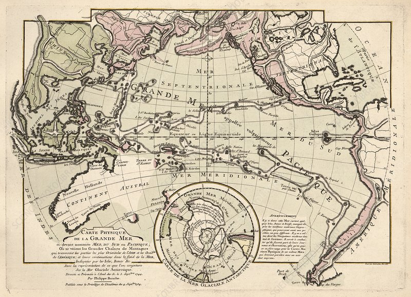 Map of the Pacific Ocean, 1757