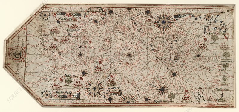 Chart of the Mediterranean, 17th century
