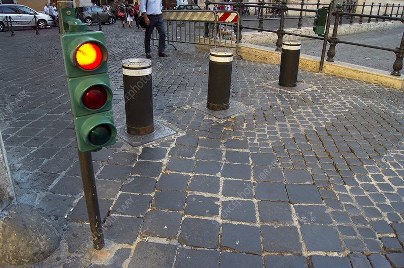 Retractable traffic barrier in Rome.