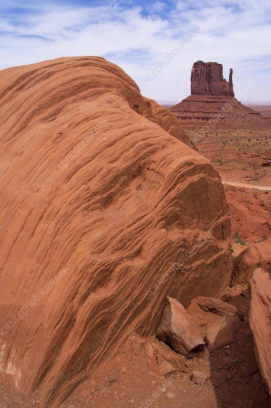 Monument Valley rock strata.
