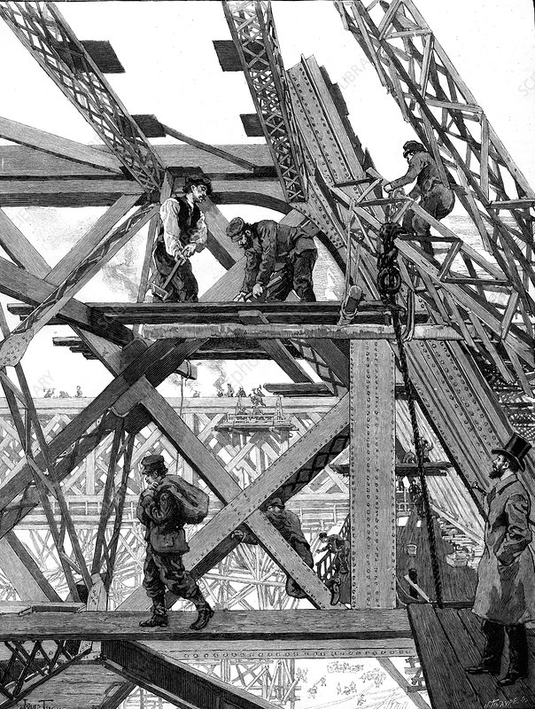 Eiffel tower being constructed, Paris