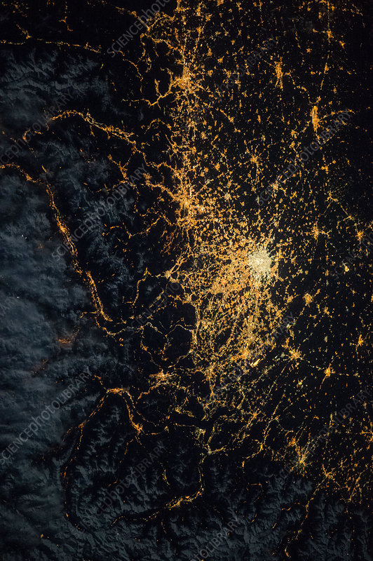 Central Europe at night, ISS image