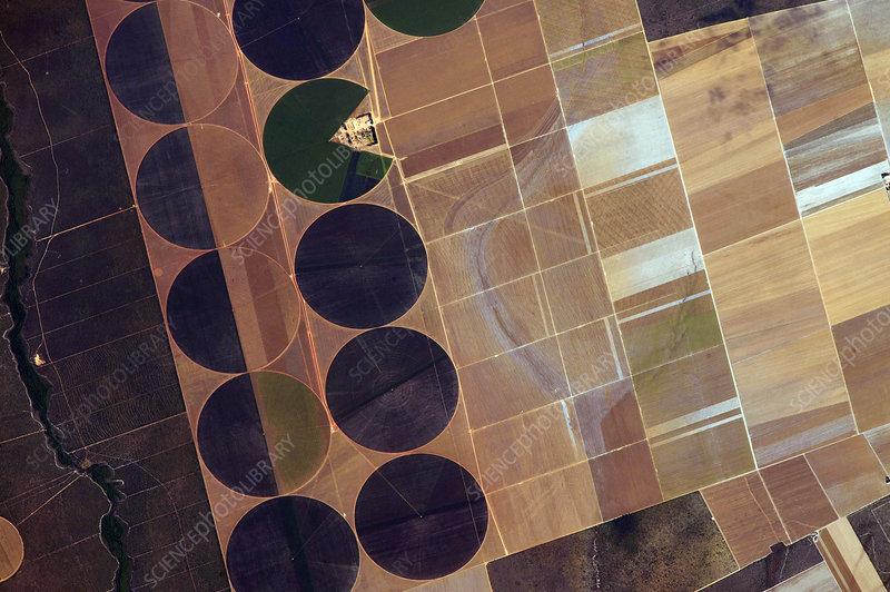 Centre pivot irrigation, ISS image