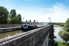 Canal boat on the Briare aqueduct