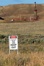 Oil drilling, Wyoming, USA