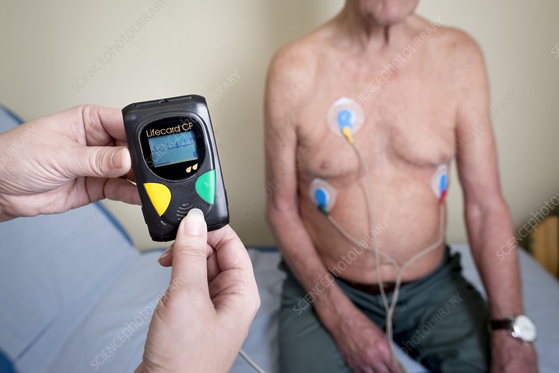 Portable ECG monitor being fitted