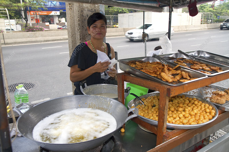 Street Vendor Using a Wok, Thailand