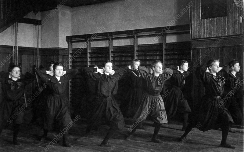 Girls in Bloomers Exercising, 1899