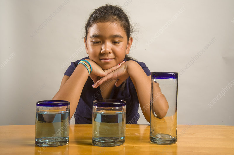 Girl in a Liquid Conservation Experiment