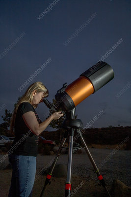 Amateur Astronomer Gazing at Stars