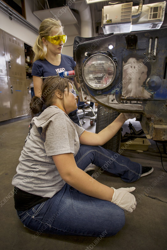 Teenage Girls in Auto Shop Class