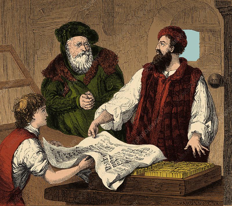 Johannes Gutenberg, German Inventor - Stock Image - C027 ...