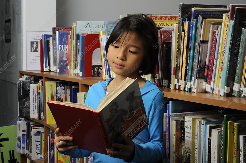 8 year Old Girl in a Library