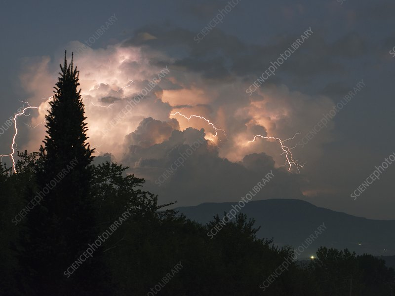 Lightning storm over Vermont, USA