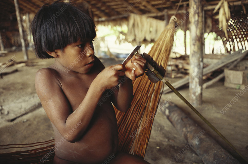 Yanomami Indian Making Arrow, Brazil