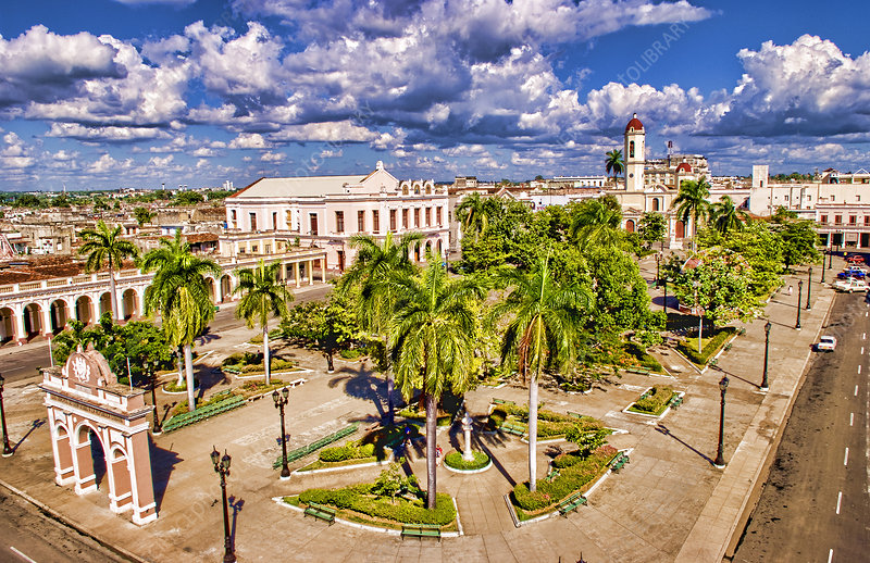 Aerial View of Downtown Square, Cuba
