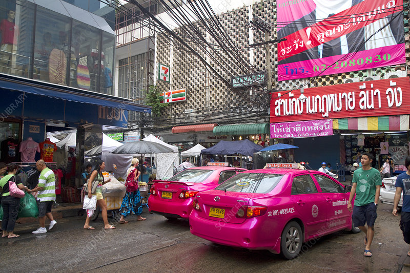 Pink taxi cabs in Bangkok, Thailand