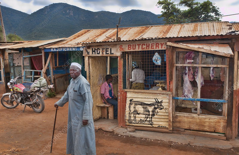 Hotel and Butchery in Village, Kenya