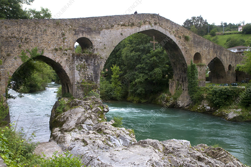 Arched Roman Bridge, Sella River, Spain