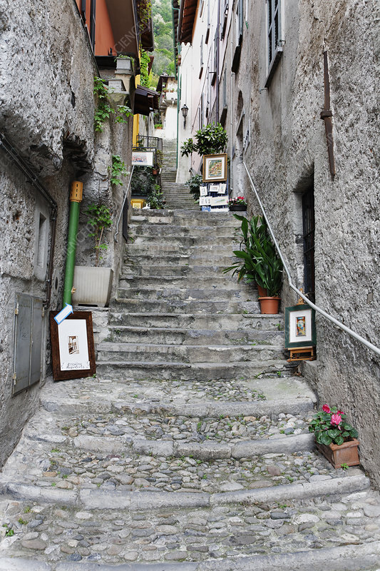 Old Steps up from lake, Varenna, Italy