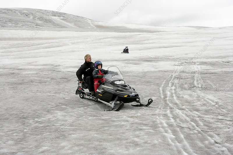 Snowmobiling on a glacier, Iceland