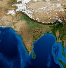 India, topographic and bathymetric map