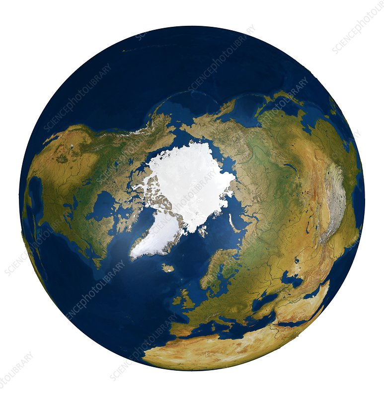 The Arctic from space, illustration