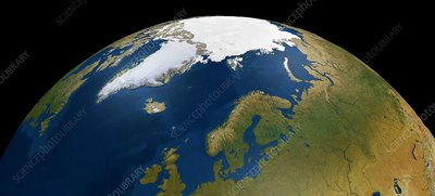 North Pole from space, illustration